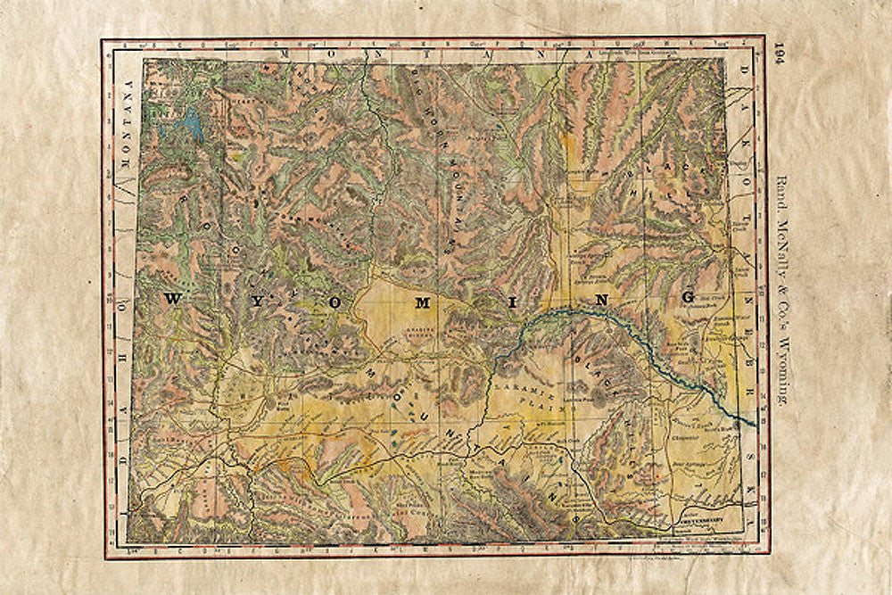 Wyoming Wagon Roads Map by Lisa Middleton