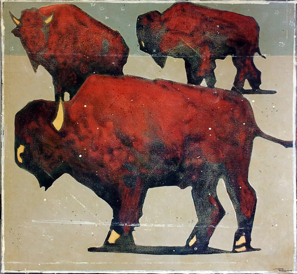 1467 Bison Trilogy Art Prints by Michael Swearngin Artist
