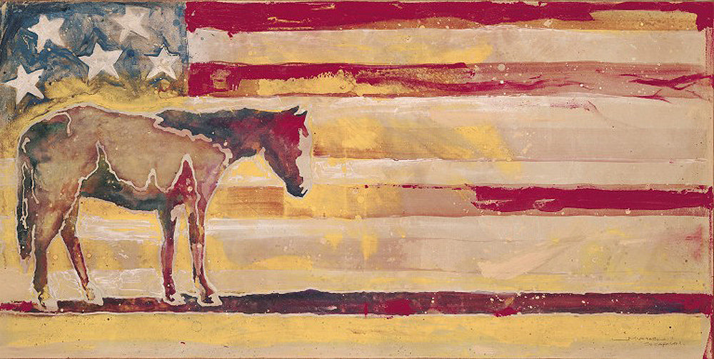 Horse Red White and Blue Art Prints by Michael Swearngin Artist