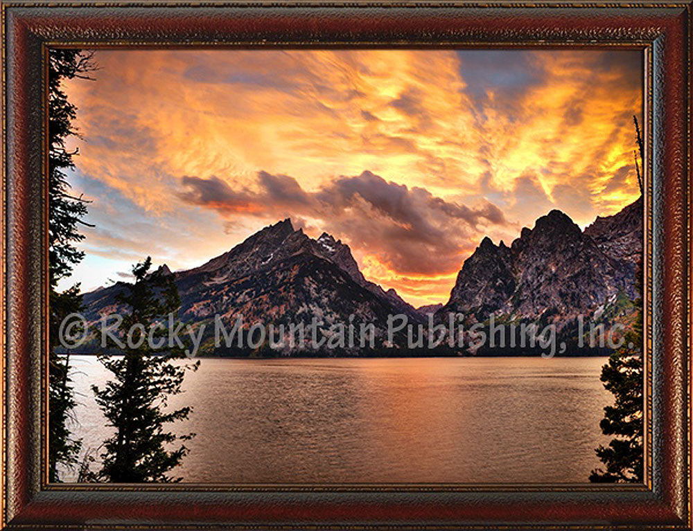 Jenny Lake Sunset – Framed Giclee Canvas by Mitchell Mansanarez