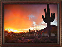 Saguaro Sunset – Framed Giclee Canvas by Mitchell Mansanarez