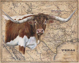 Brown Longhorn Map by Patty Pendergast
