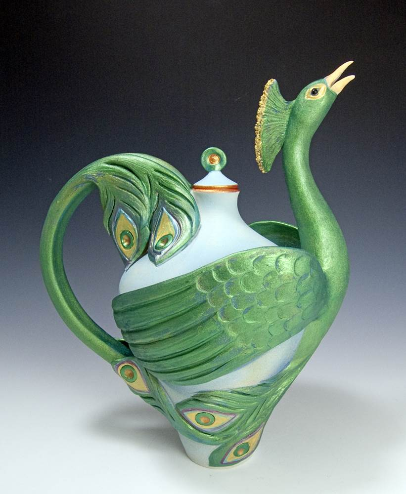Peacock Teapot Ceramic Artwork by Bonnie Belt