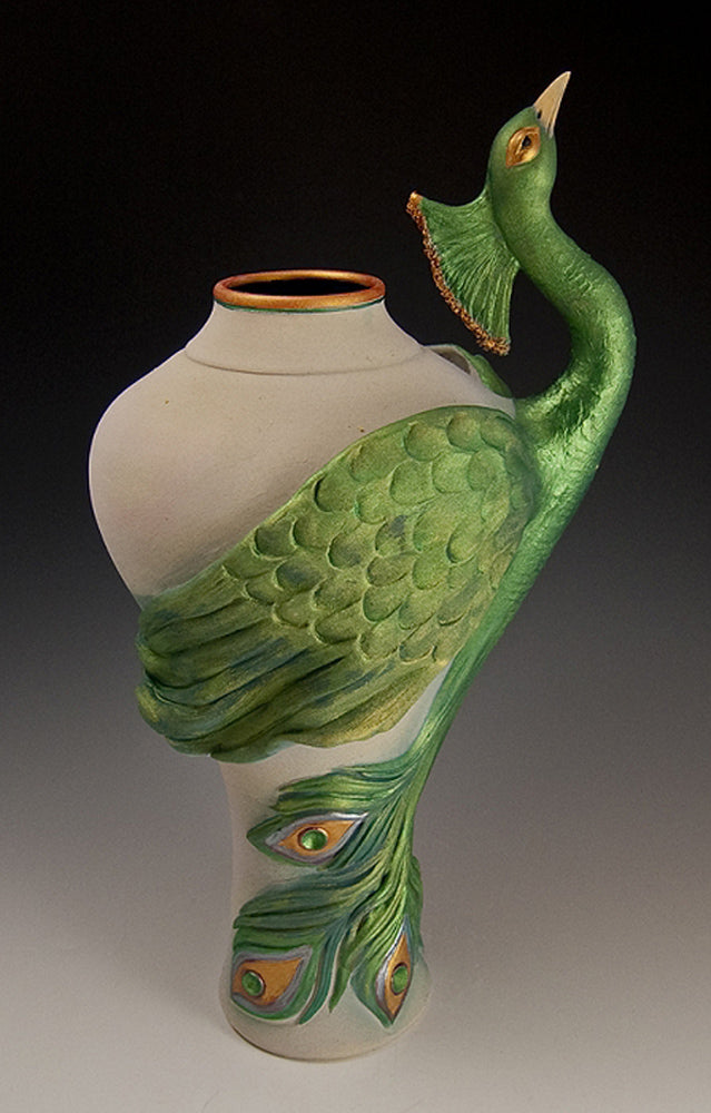 Peacock Vase Ceramic Artwork by Bonnie Belt
