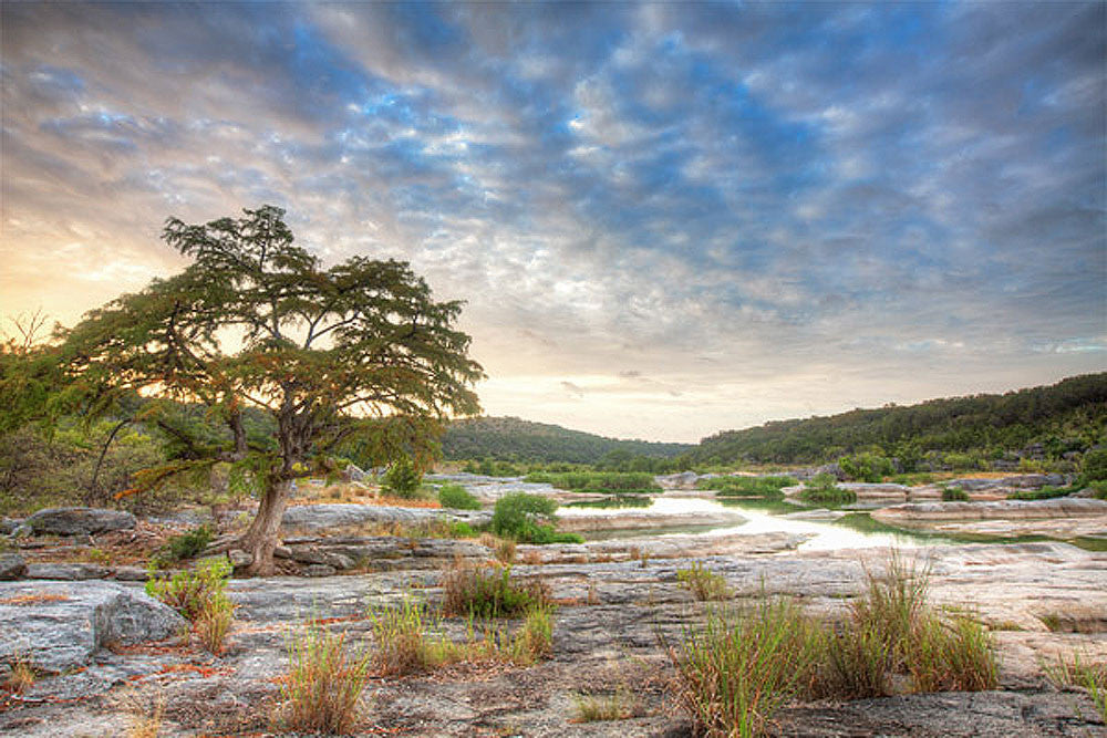 Pedernales Falls - Morning Clouds Over the River 5 by Rob Greebon