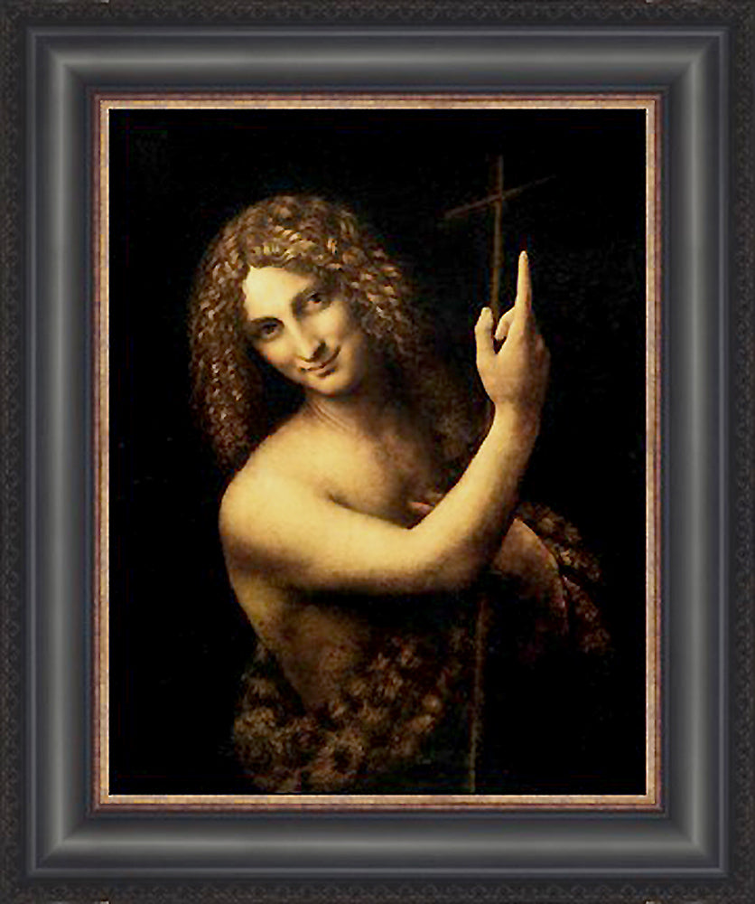 St John the Baptist Custom Framed Giclee Canvas by Leonardo Da Vinci