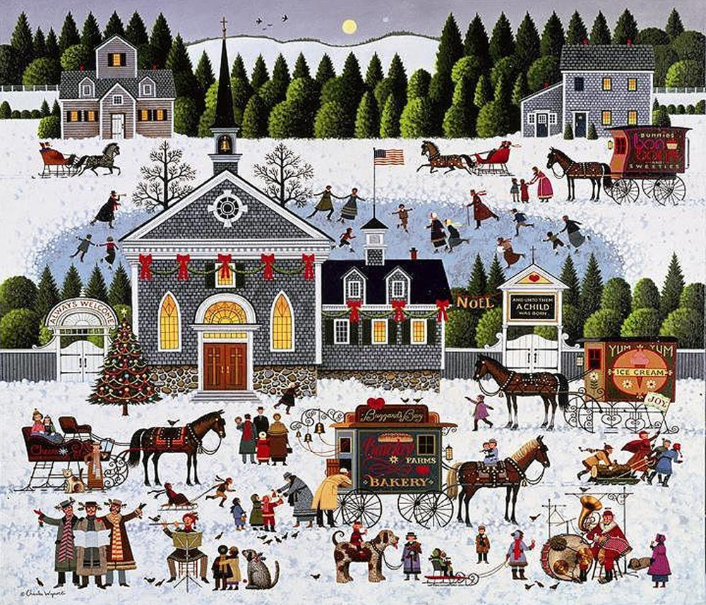 Churchyard Christmas Art Prints By Charles Wysocki Artist
