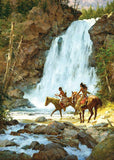 Crossing Below the Falls Art Prints by Howard Terpning