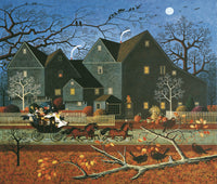 Hellraisers Passing the House of Seven Gables on Halloween Night Art Prints By Charles Wysocki Artist