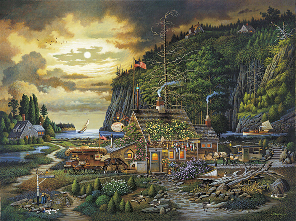 Moonlight and Roses in Olde Maine Art Prints By Charles Wysocki Artist