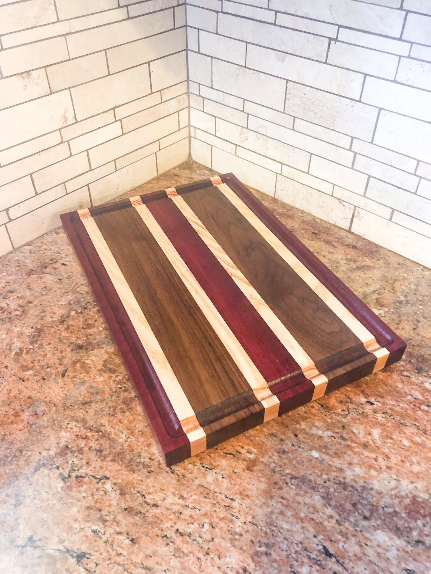 Purple Heart and Walnut Edge Grain Cutting Board