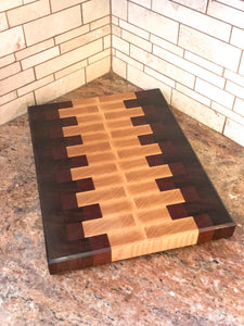 End Grain Walnut, Mahogany and Ash Cutting Board