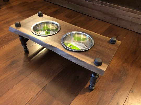 rustic dog feeder
