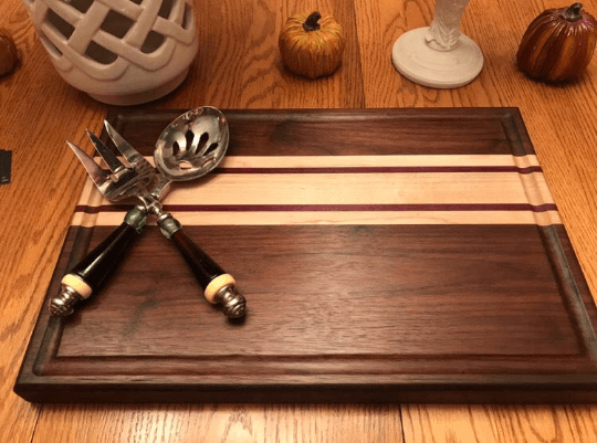 Walnut, Maple and Purple Heart Cutting Board