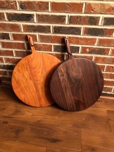 Round Walnut or Cherry Charcuterie Board W/ Handle