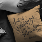 Load image into Gallery viewer, Count the Blessings Ramadan Pillow- Tan