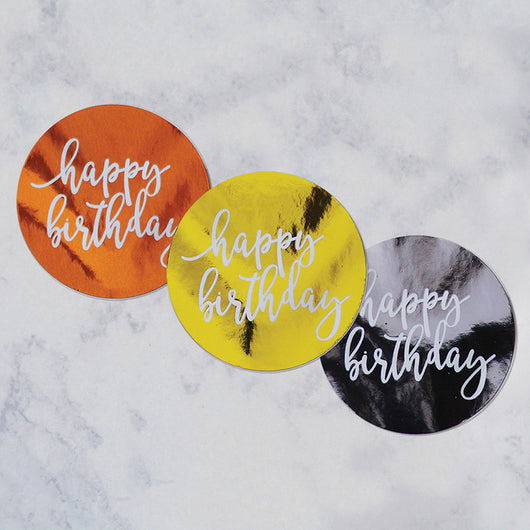 Happy Birthday Round metallic Stickers