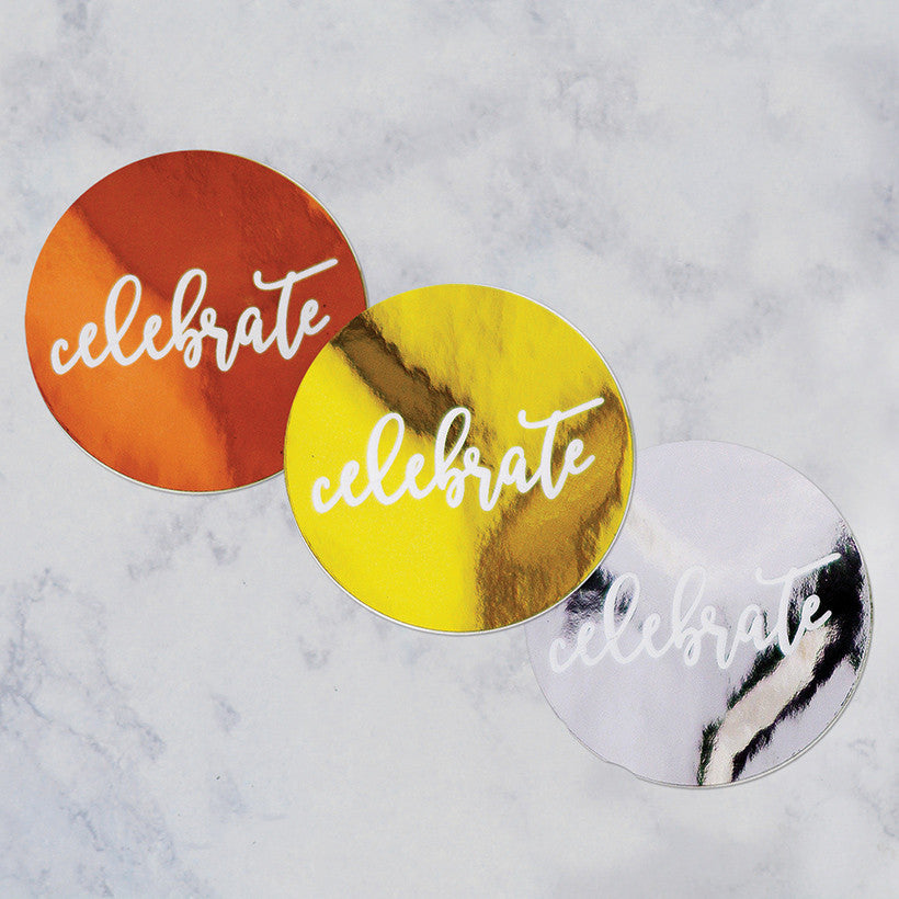 Celebrate metallic round stickers- 10 pack
