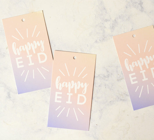 Happy Eid ombre gift tags