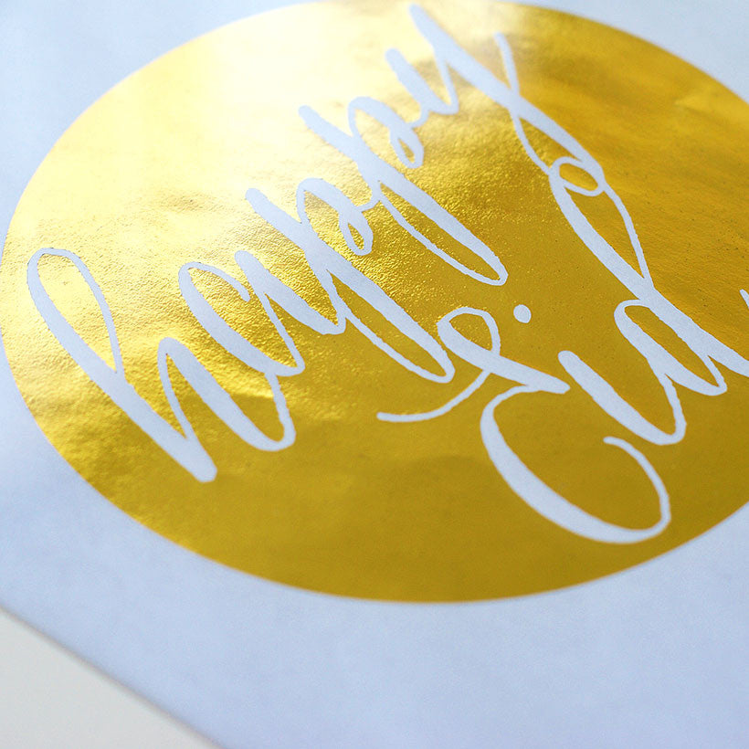 Art Print-' Happy Eid ' gold foil, white