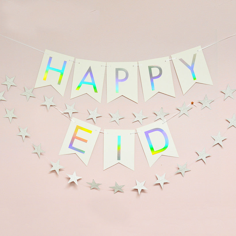 Rainbow holographic silver foil Happy Eid banner from modernEID