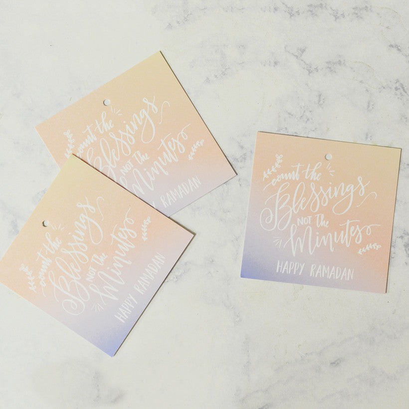 Happy Ramadan ombre gift tags