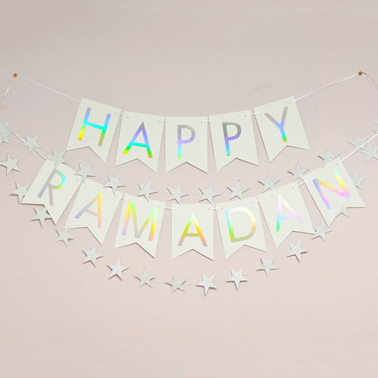 Rainbow holographic foil Happy Ramadan banner from modernEID