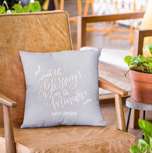 Count the Blessings Ramadan Pillow- Grey