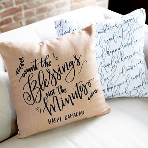 Count the Blessings Ramadan Pillow- Tan