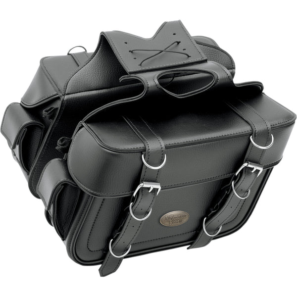 3501-0637 ALL AMERICAN RIDER Large Plain Box-Style Slant Saddlebags With Rear Pocket SBAG SLANT PHN PCH LG