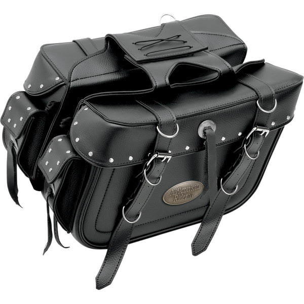 3501-0639 ALL AMERICAN RIDER X-Large Rivet Box-Style Slant Saddlebags With Rear Pocket SBAG SLT PHN PCH XL RVT