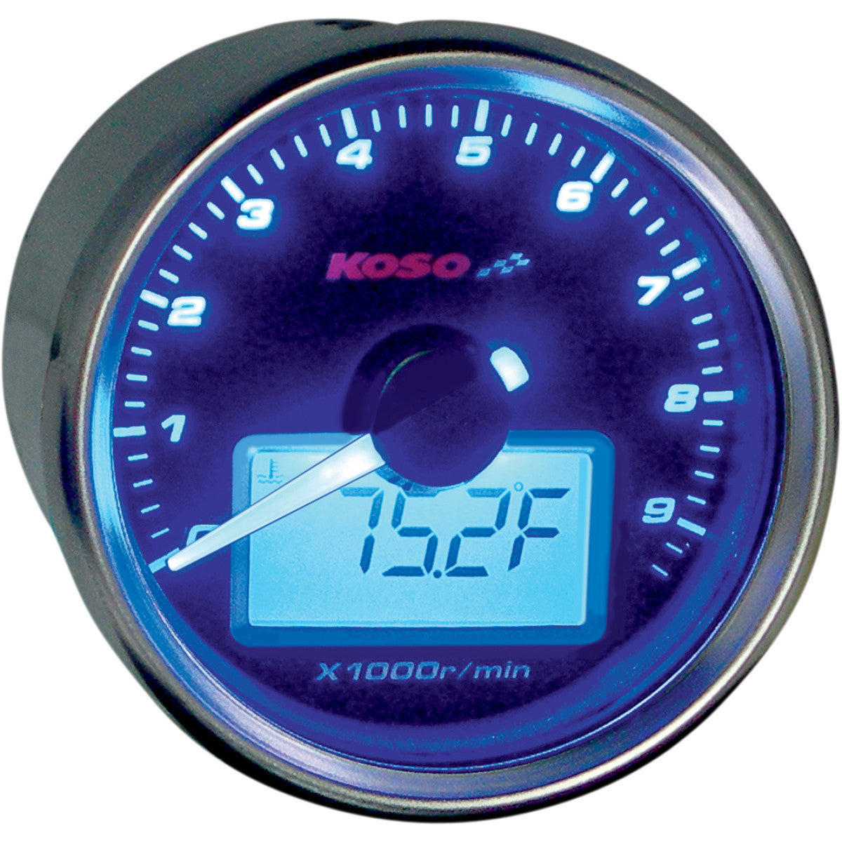 2211-0090 KOSO NORTH AMERICA GP-Style Universal tachometer With Temperature Gauge TACH-TEMP GAUGE BK FACE
