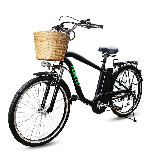 "Nakto City Electric Bicycle Men 26"" Camel Black with Plastic Basket"
