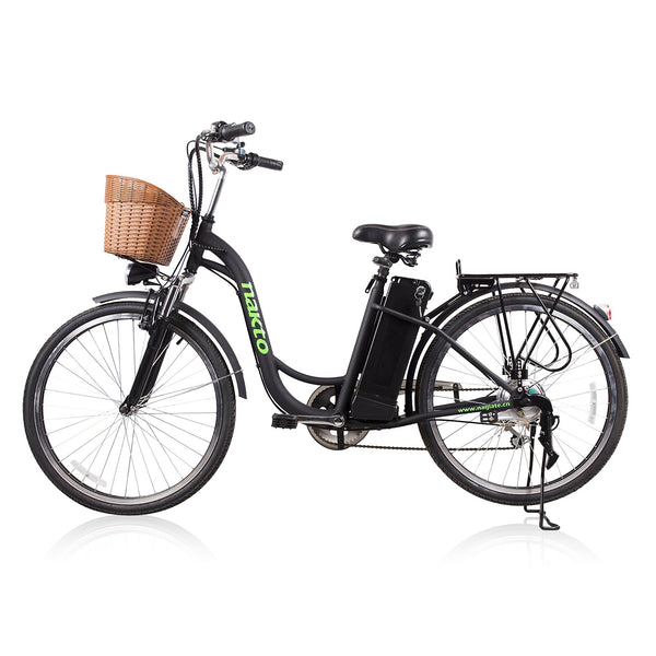 "Nakto City Electric Bicycle Women's 26"" Camel Black with Plastic Basket"