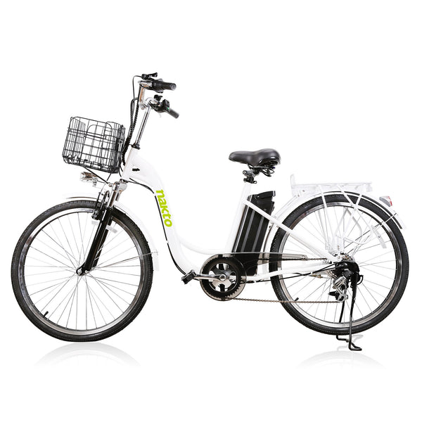 "Nakto City Electric Bicycle Women's 26"" Camel White with Plastic Basket"