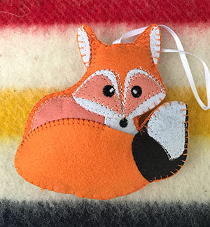 Baby Fox Feltie Christmas Ornament