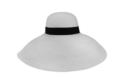 Palma White Round Crown Wide Brim Panama Hat