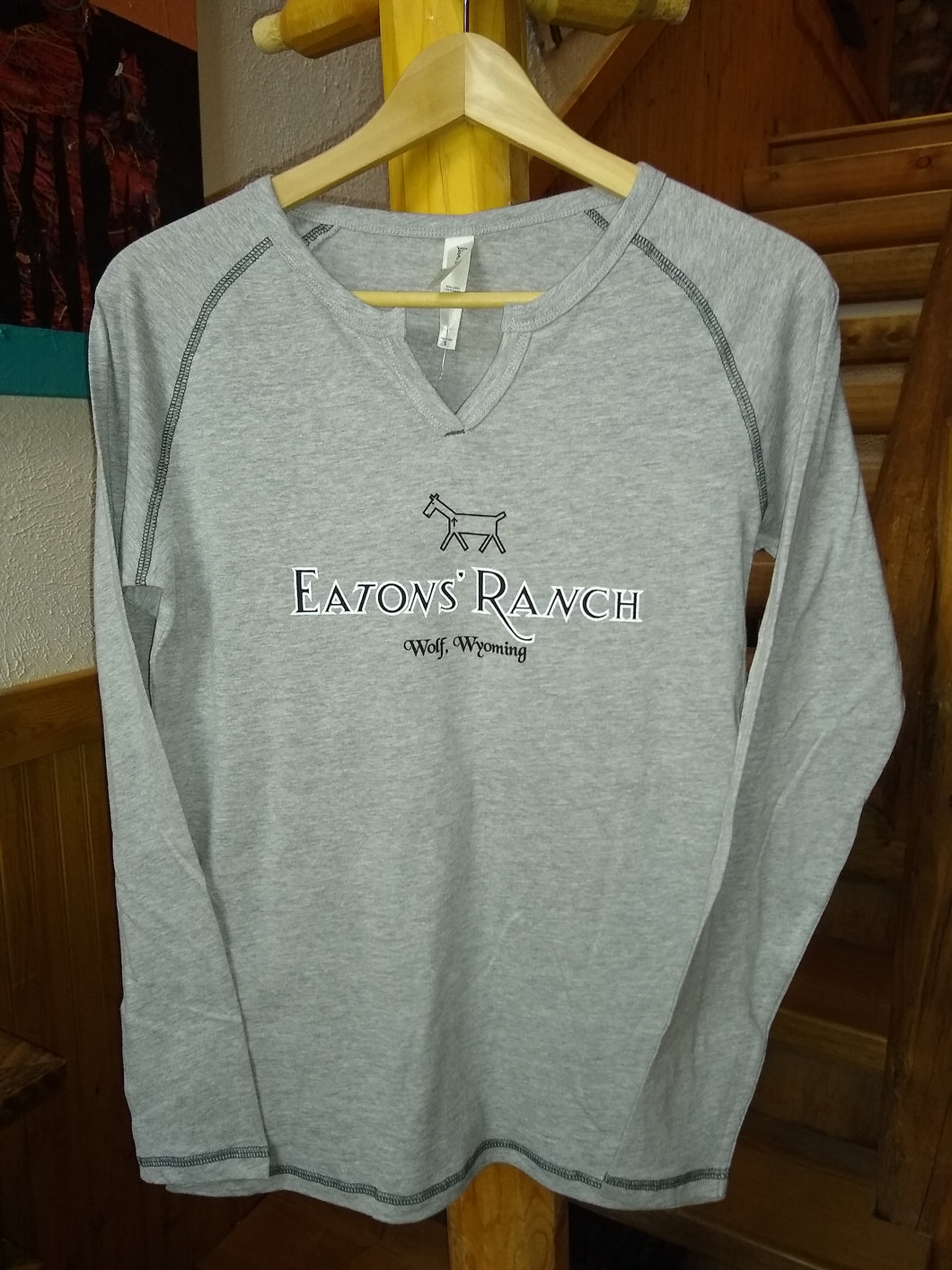 Gray Eaton's Ranch V-Neck Long Sleeve Shirt