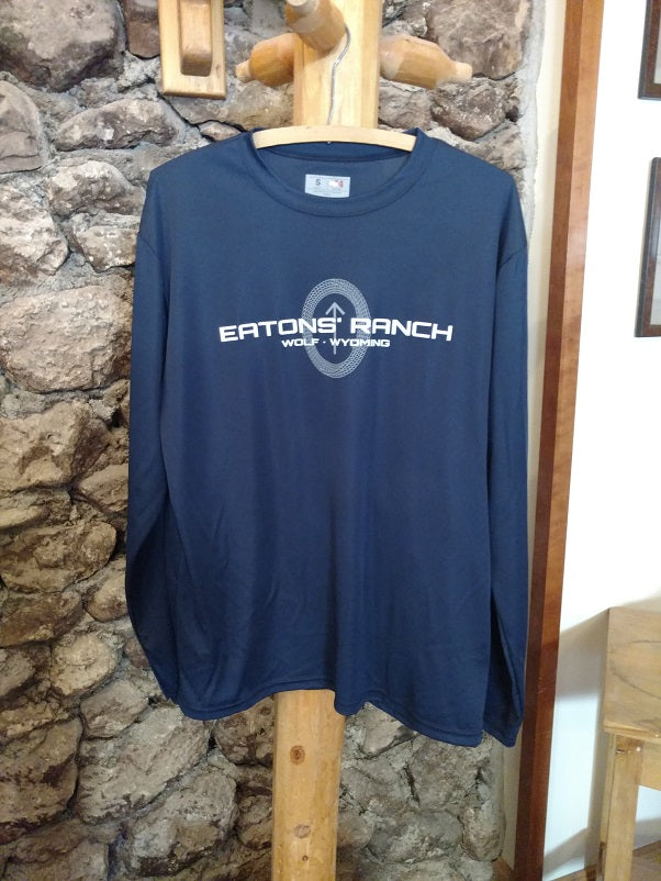 Blue Eatons' Ranch Wolf Wyoming with Arrowhead Long Sleeve Performance Tee