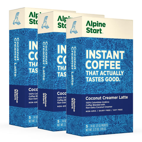 Alpine Start Coconut Creamer Latte. Instant Coffee blended with non-dairy coconut creamer