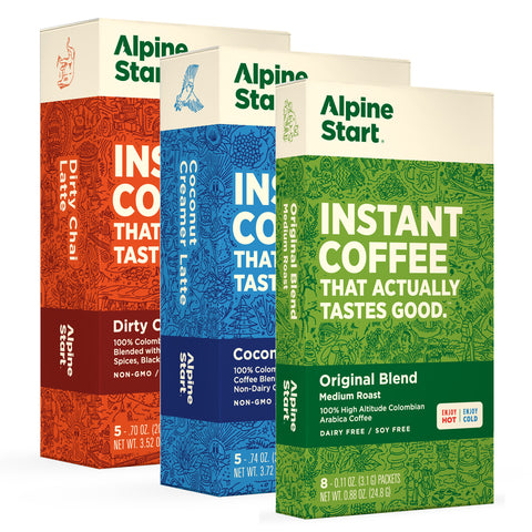 Alpine Start Instant Coffee Variety Pack - 3 great tasting flavors