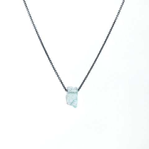 Long Aquamarine Necklace - 925 Silver