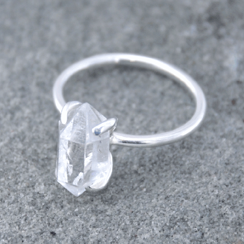 Piece of earth herkimer diamond ring 925 silver morcrystals piece of earth herkimer diamond ring 925 silver junglespirit Images