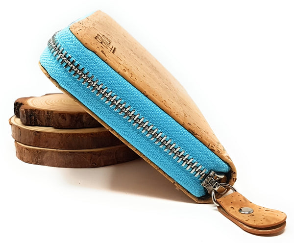 Blue vegan leather wallet womens