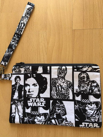 Pencil Case/Clutch Purse/Make Up Bag - Black & White Star Wars