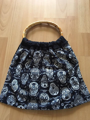 Bamboo Bag - Black Skulls