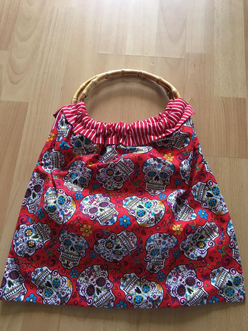 Bamboo Bag - Red Skulls