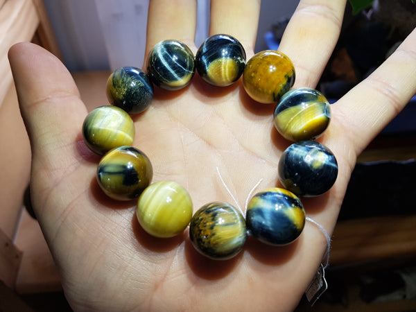Blue & Gold Tiger's Eye Bracelet 18mm - Earth's Treasures