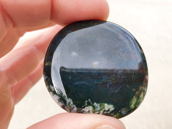 Moss Agate Pocket Stone - Earth's Treasures