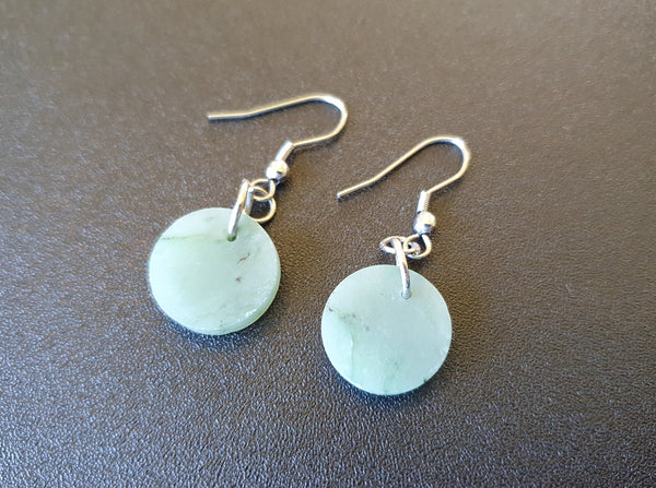 Greenstone (Nephrite Jade) disk Earrings